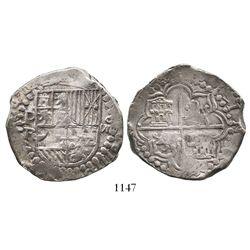 Potosi, Bolivia, cob 8 reales, Philip III, assayer R (curved leg), ex-Raymond.
