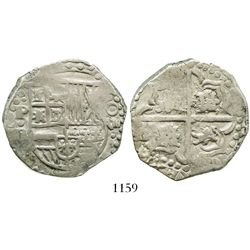 Potosi, Bolivia, cob 8 reales, Philip IV, assayer P (mid-1620s), quadrants of cross transposed.