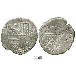 Potosi, Bolivia, cob 8 reales, Philip IV, assayer not visible (mid-1620s), quadrants of cross transp