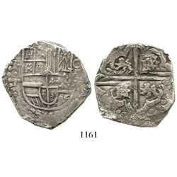 Potosi, Bolivia, cob 8 reales, Philip IV, assayer T (mid- to late 1620s), quadrants of cross transpo