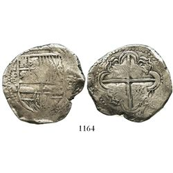 Potosi, Bolivia, cob 8 reales, Philip IV, assayer T (early 1630s), quadrants of cross transposed, Je