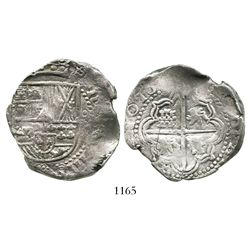 Potosi, Bolivia, cob 8 reales, Philip IV, assayer not visible (early 1630s).