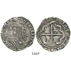 "Potosi, Bolivia, cob 4 reales, Philip II, assayer B (1st period, ""Lima style"")."