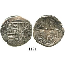 Potosi, Bolivia, cob 4 reales, Philip II, assayer B (5th period).