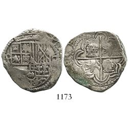 Potosi, Bolivia, cob 4 reales, Philip II, assayer not visible (5th-period B), border of x's on rever