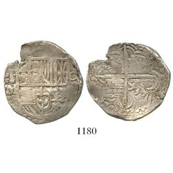 Potosi, Bolivia, cob 4 reales, Philip III, assayer M, quadrants of cross transposed.