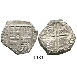 Potosi, Bolivia, cob 4 reales, Philip IV, assayer T (late 1620s).