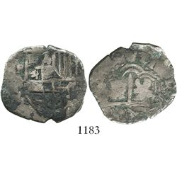 Potosi, Bolivia, cob 4 reales, Philip IV, assayer TR(?), debased and underweight, rare.