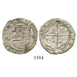 Potosi, Bolivia, cob 2 reales, Philip II, assayer R to left (Rincon).