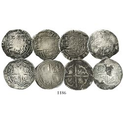 Lot of 4 Potosi, Bolivia, cob 2 reales, Philip II, assayer B (various periods).