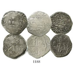 Lot of 3 Potosi, Bolivia, cob 2 reales, Philip II, assayers A, R (Ramos) and B (5th period).