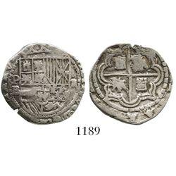 Potosi, Bolivia, cob 2 reales, Philip II, assayer B (5th period), borders of x's (obverse) and squar