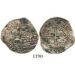 Potosi, Bolivia, cob 2 reales, Philip III, assayer R (straight leg).