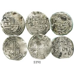 Lot of 3 Potosi, Bolivia, cob 2 reales, Philip III, assayers R (curved leg) and not visible.