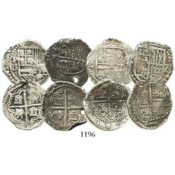 Lot of 4 Potosi, Bolivia, cob 2 reales of Philip III, assayers R, Q and T.