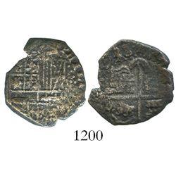 Potosi, Bolivia, cob 2 reales, (1)638/7, assayer not visible, unique.