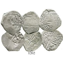 Lot of 3 Potosi, Bolivia, cob 2 reales, Philip IV, assayers P and not visible.