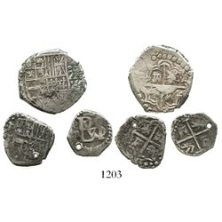 Lot of 3 Potosi, Bolivia, small cobs: 2R, Philip IV, assayer T (partially dated); 1R, Philip IV, ass