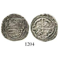 Potosi, Bolivia, cob 1 real, Philip II, assayer R to left (Rincon).