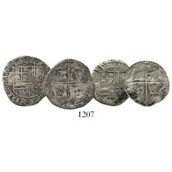 Lot of 2 Potosi, Bolivia, cob 1R of Philip II, assayer B (3rd period).