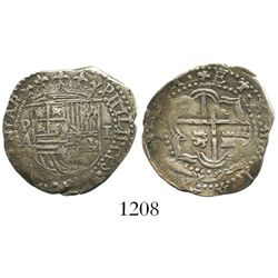 Potosi, Bolivia, cob 1 real, Philip II, assayer A.