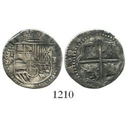 Potosi, Bolivia, cob 1 real, Philip II, assayer B (4th period).