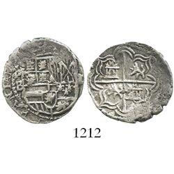 Potosi, Bolivia, cob 1 real, Philip II, assayer B (5th period), borders of x's.