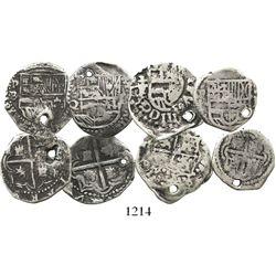 Lot of 4 Potosi, Bolivia, cob 1R, Philip II and III, assayers B, Q and T.