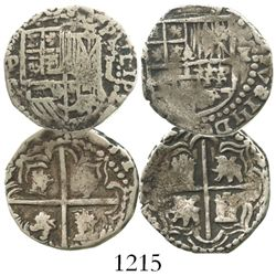 Lot of 2 Potosi, Bolivia, cob 1R of Philip III, assayers R and M.