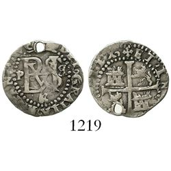 Potosi, Bolivia, cob 1/2 real, Philip II, assayer B (backwards) to right, mintmark P to left, and B/