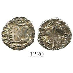 Potosi, Bolivia, cob 1/2 real, Philip II, assayer B (5th period), P-B to left, border of x's on mono