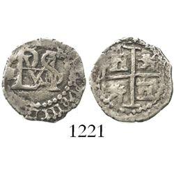 Potosi, Bolivia, cob 1/2 real, Philip III, assayer R to left.