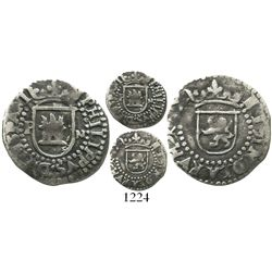Potosi, Bolivia, cob 1/4 real, Philip II, assayer M to right and mintmark P to left of castle, extre