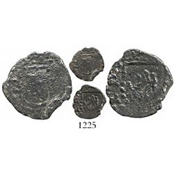 Potosi, Bolivia, cob 1/4 real, Philip II, assayer B to left of castle, rare.