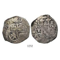 Potosi, Bolivia, cob 8 reales, 1657E, dot between tops of pillars.
