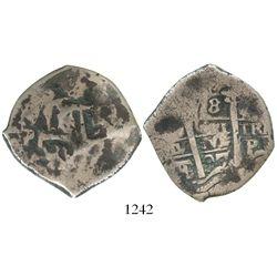 Potosi, Bolivia, cob 8 reales, 1697F/CH, rare.