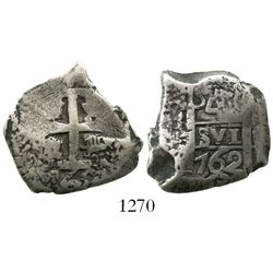 Potosi, Bolivia, cob 4 reales, 1762(V-Y).