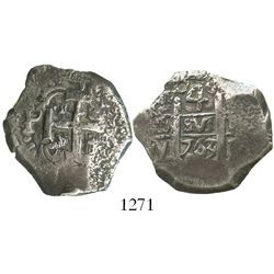 Potosi, Bolivia, cob 4 reales, 1763(V)-Y.