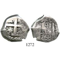Potosi, Bolivia, cob 4 reales, 1768V-(Y).