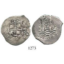 Potosi, Bolivia, cob 2 reales, 1656E.