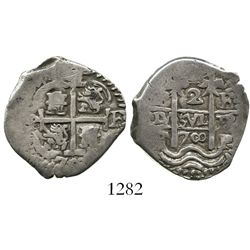 Potosi, Bolivia, cob 2 reales, 1700F, last two digits of date in the form of a sideways 8.