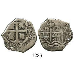 Potosi, Bolivia, cob 2 reales, 1701Y/F, Charles II posthumous, very rare.