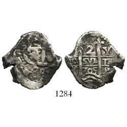 Potosi, Bolivia, cob 2 reales, 1705Y.