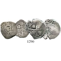 Lot of 2 Potosi, Bolivia, small silver cobs (one 2R and one 1R) of 1726Y, (Louis I).