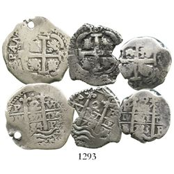 Lot of 3 Potosi, Bolivia, cob 2R, Charles II and Philip V, various dates (1684VR, 1701F and 1733E).