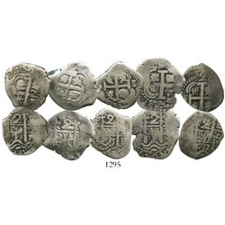 Lot of 5 Potosi, Bolivia, cob 2 reales of Philip V, various dates: 1716Y, 1717Y, 1718Y, 1735E and 17