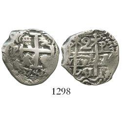 Potosi, Bolivia, cob 2 reales, 1741P.