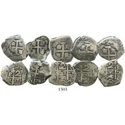 Lot of 5 Potosi, Bolivia, cob 2 reales of the 1740s, as follows: 1742C/P, 1745q (2), 1746q and 1749q