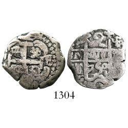 Potosi, Bolivia, cob 2 reales, 1750E/q, rare.