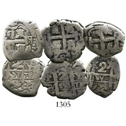 Lot of 3 Potosi, Bolivia, cob 2R of Philip V and Ferdinand VI: 1704Y, 1746q and 1753C.
